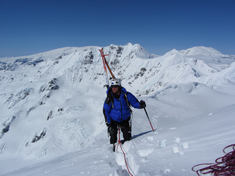 Ski mountaineer climbing