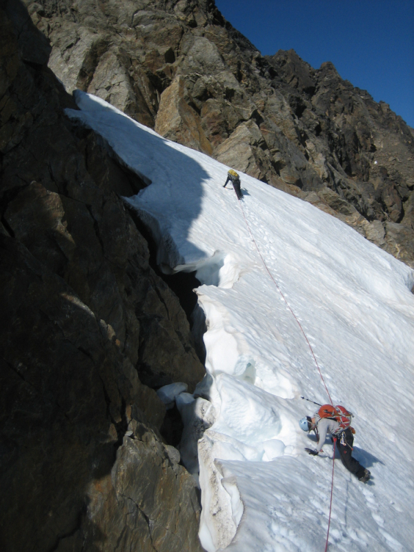 Climbing a steep snow couloir