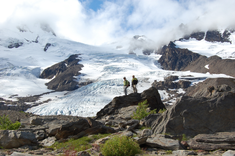 Hikers and glaciers