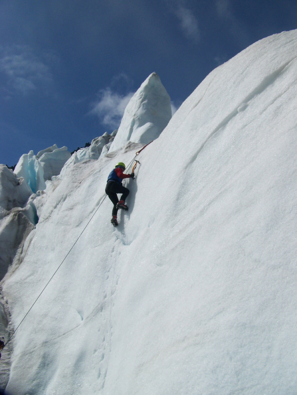 Ice climbing in the seracs