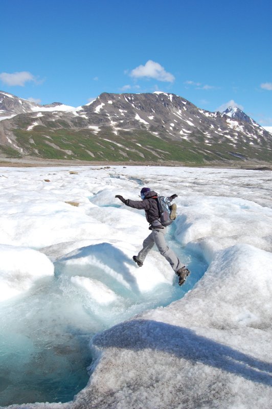 Jumping a glacial stream