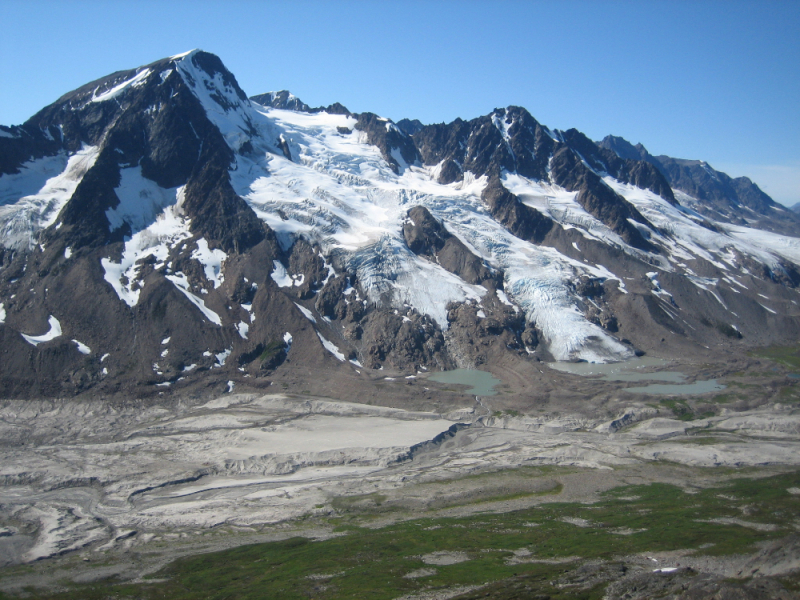 Steep glaciers above the airstrip