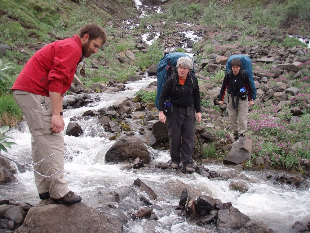 Backpacking creek crossing Alaska