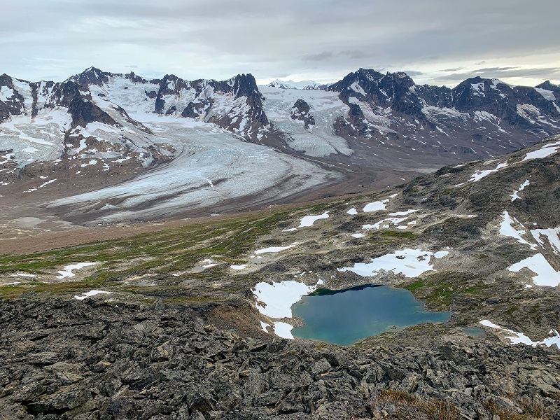 Summit views of lakes and glaciers