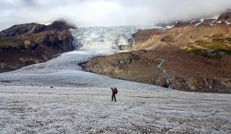 Backpacking with hanging glacier