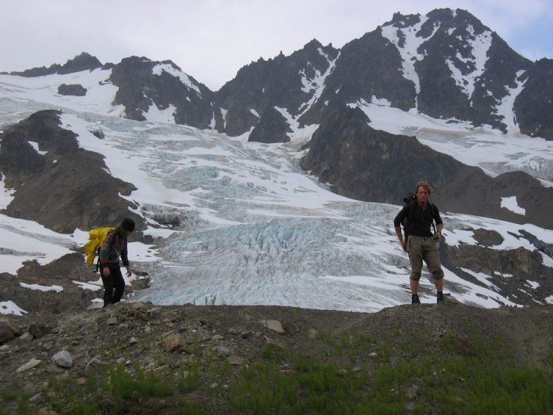 Hikers with glacier