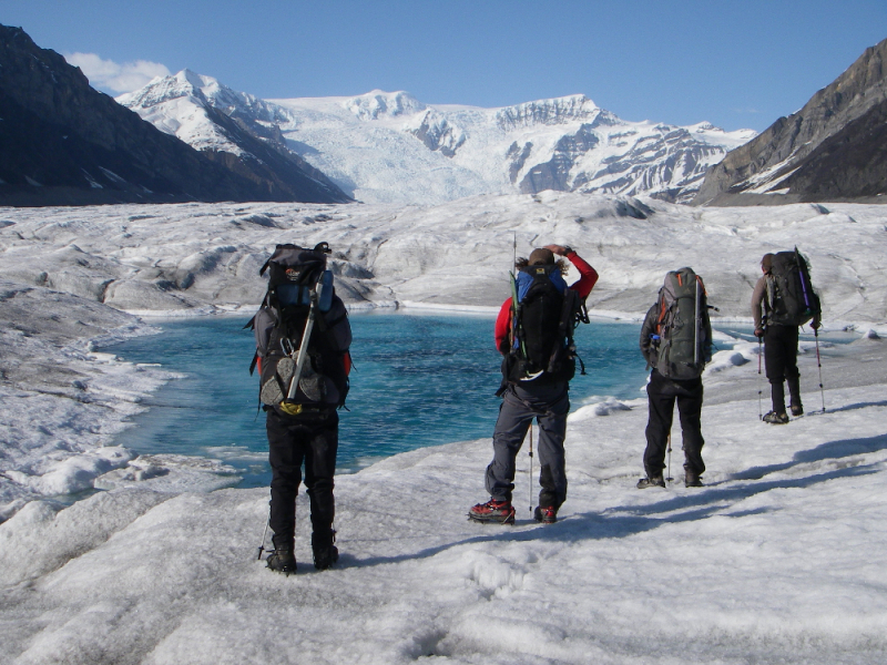 Backpacking on a glacier