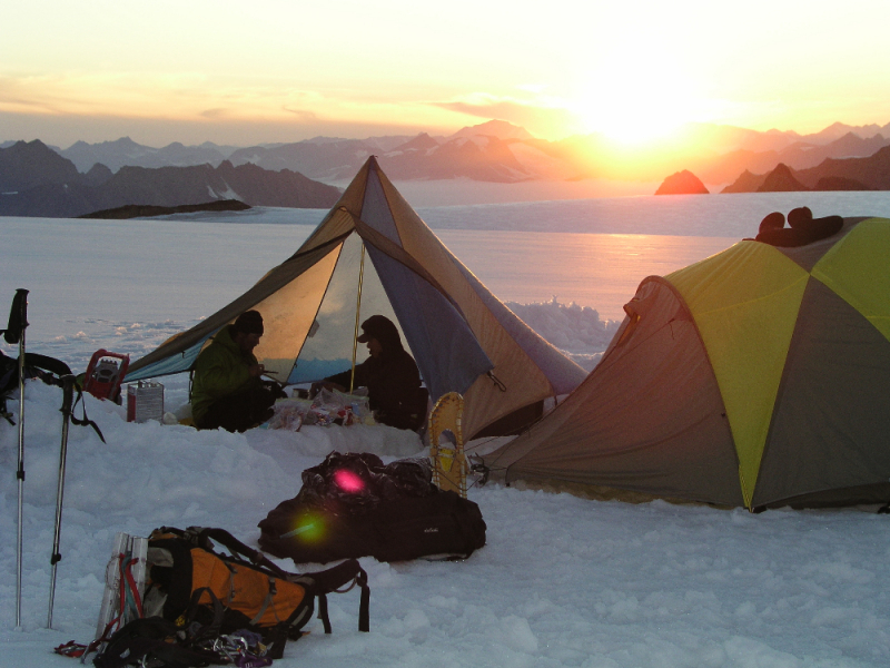 Base camp with sunset in Alaska