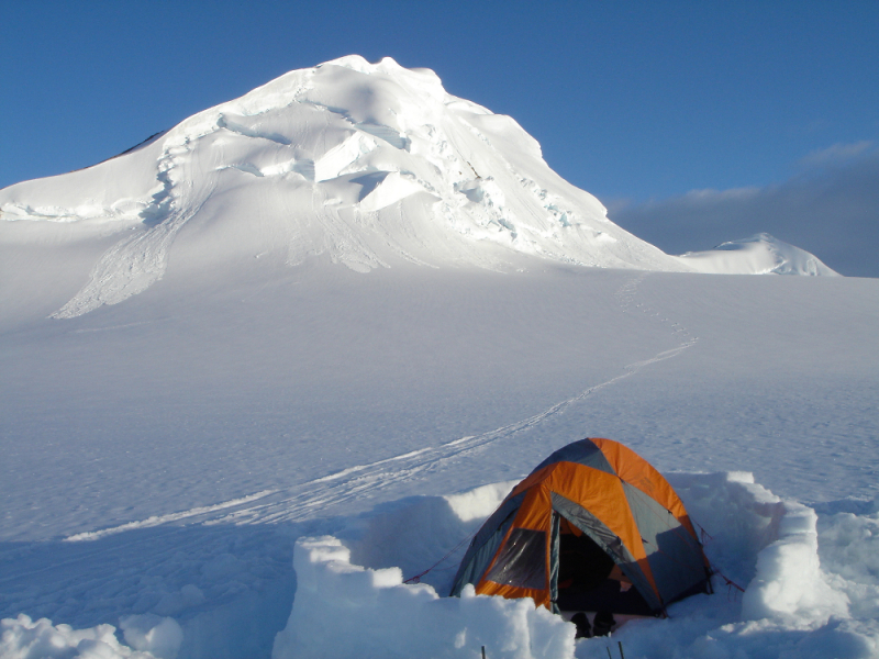 Mountaineering camp and snow walls
