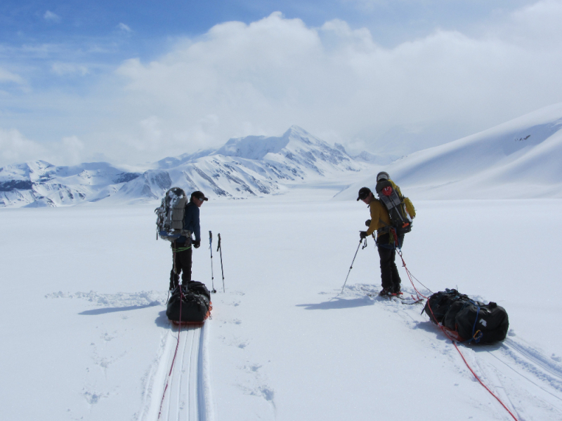 Towing sleds on an Alaskan glacier