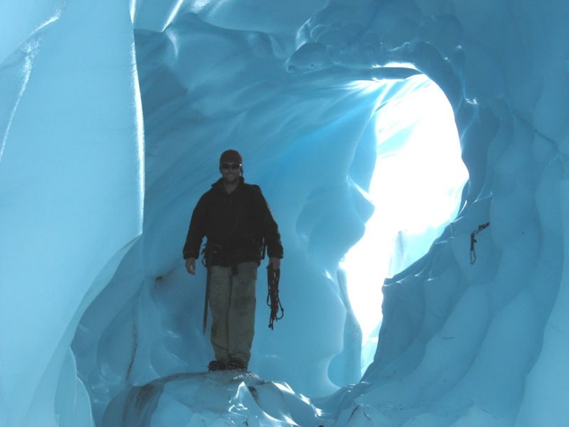 Ice tunnel on Root Glacier