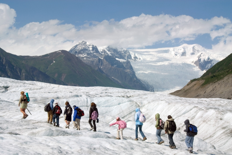 Kids on Alaska glacier hike