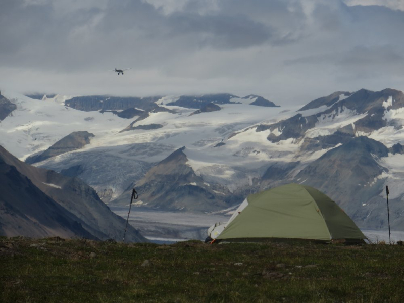 High backpacking camp Alaska
