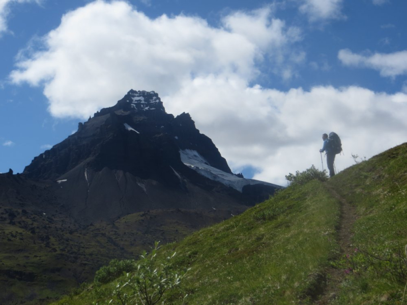 Wrangell mountains hiker on Game trail