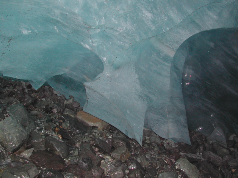 Ice and rock in glacier cave