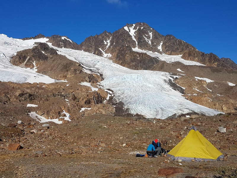 Tent with Glacier Scenery