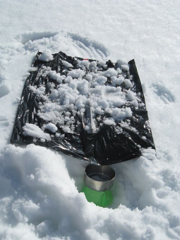 Melting snow for drinking water