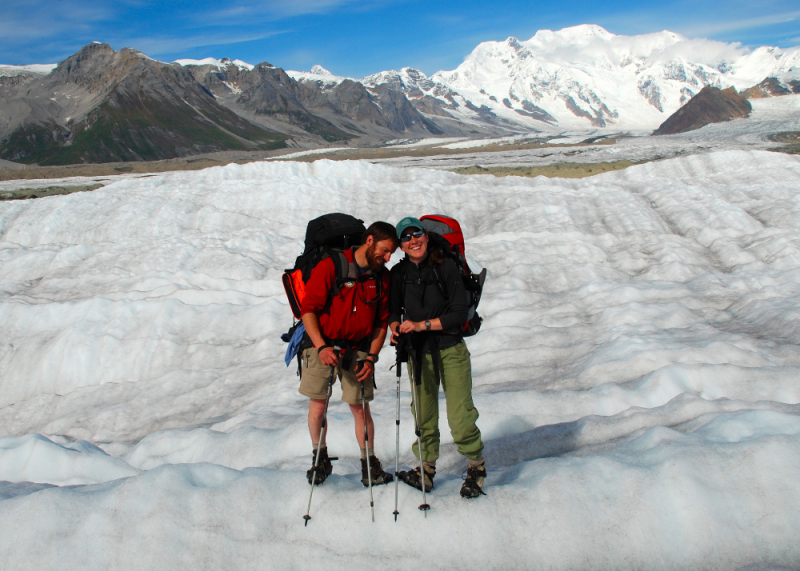 Backpackers on Kennecott glacier
