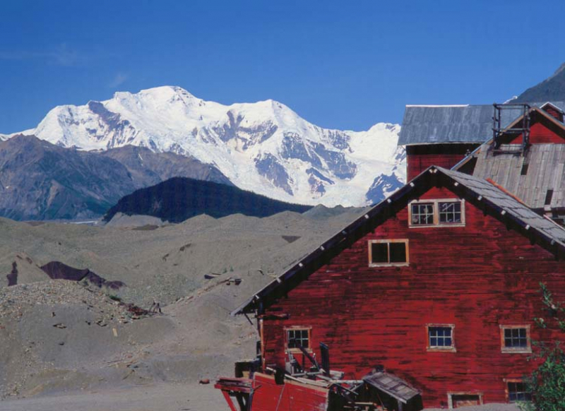 The historic copper mining town of Kennecott sits perched beside the mighty Kennicott Glacier and 16,390ft Mt. Blackburn.