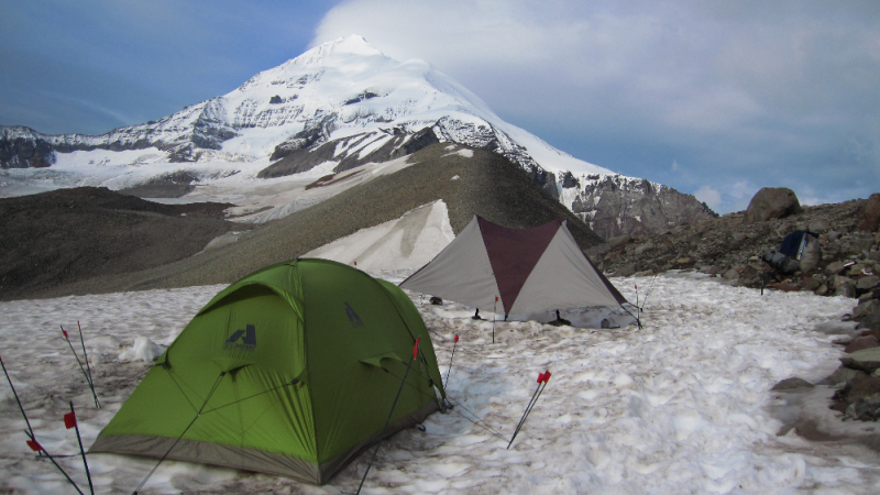 Base camp on Mt Drum