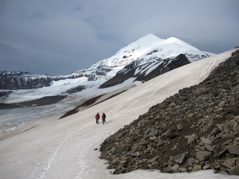 Climbers at the base of Mt Drum