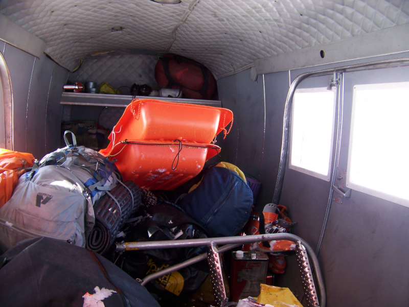 Mountaineering gear in the plane