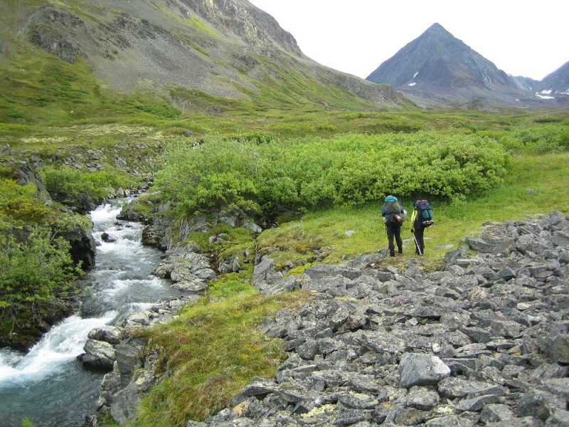 Hikers in Alaska's Chugach mountains