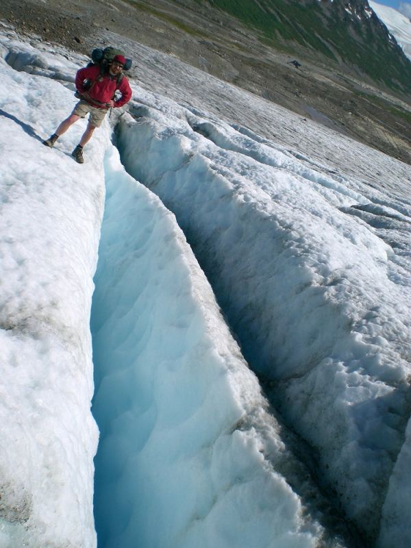 Crevasses on glacier in Alaska
