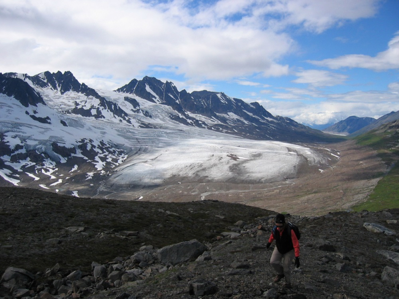 Alaska hiking with glacier views