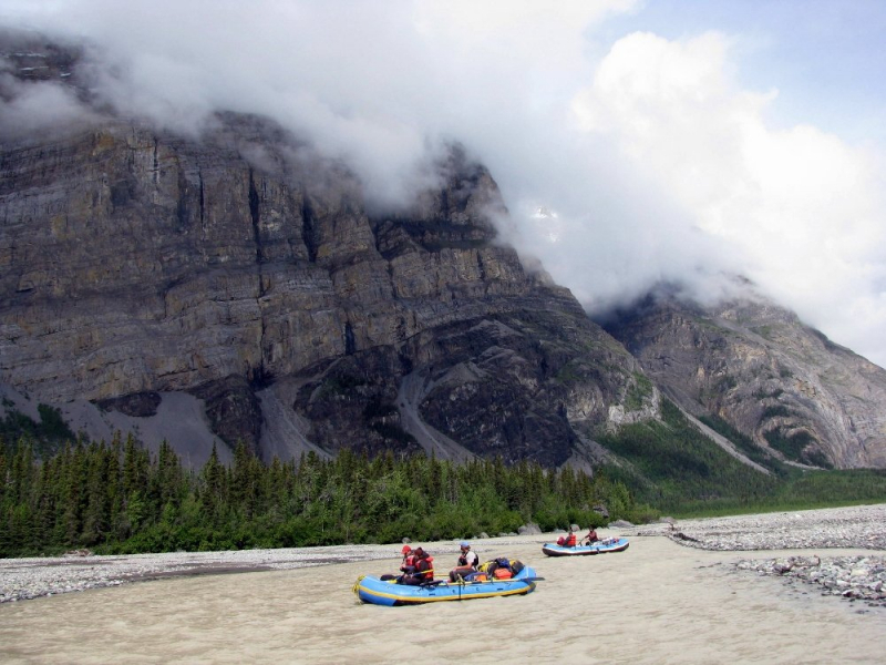 Rafting Under Alaska Cliffs