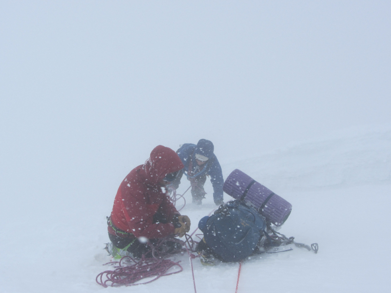 Climbers in bad weather