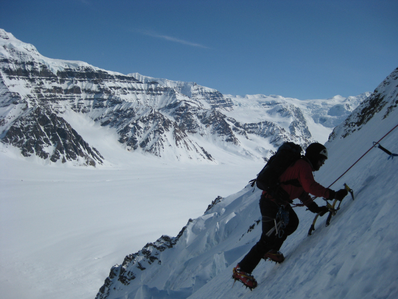 Climbing alpine ice