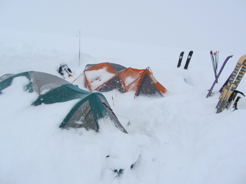 Snow covered camp