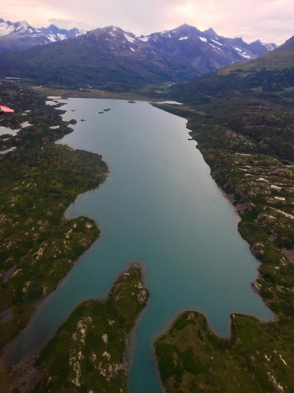Aerial view of alpine lake