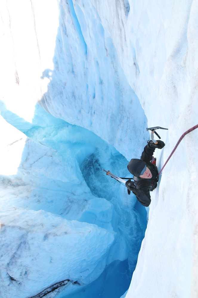 ice climber on glacier