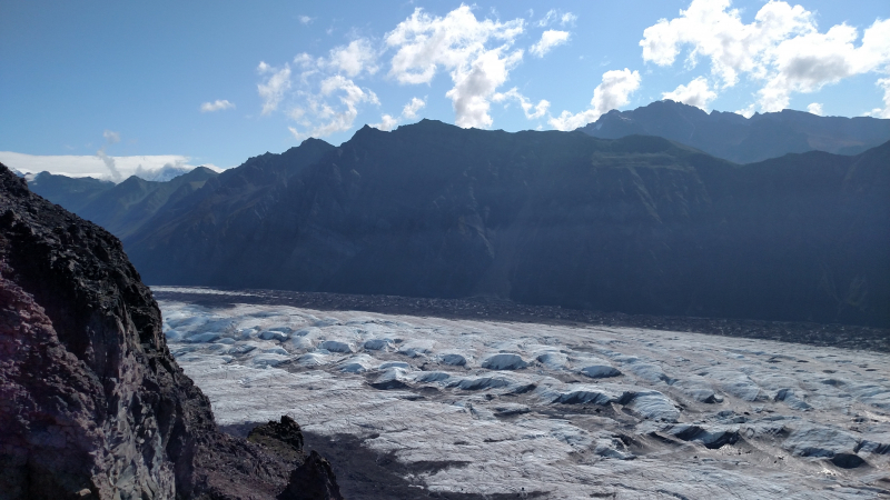 Looking down on glaciers