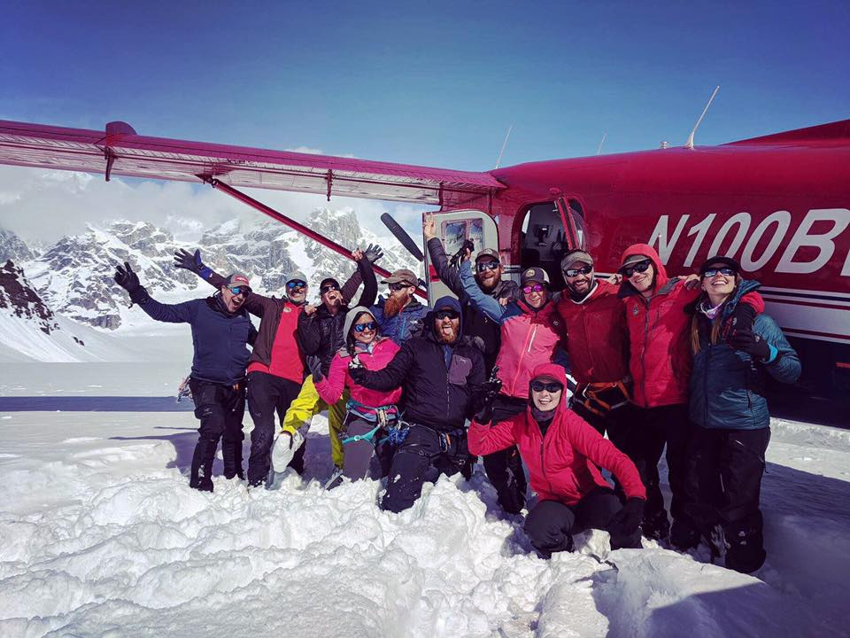 guides with ski plane