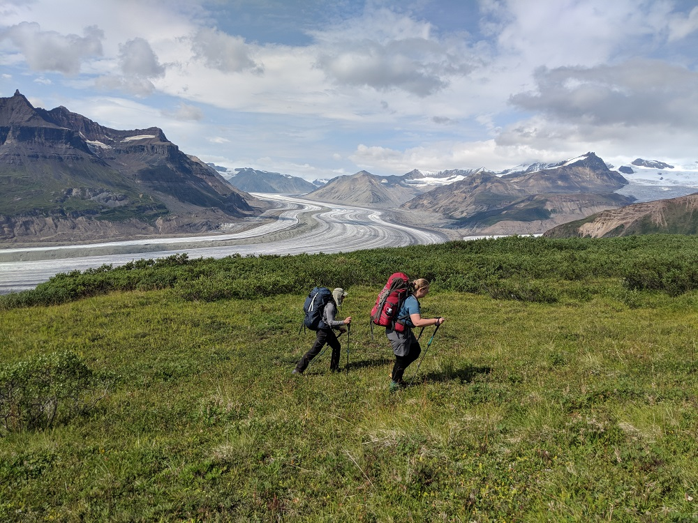 backpacking above glaciers