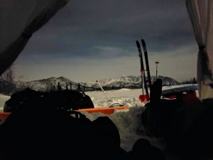 view from tent at dusk