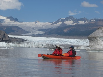 paddling among icebergs in alaska