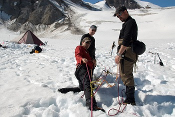 learning rope work on glaciers