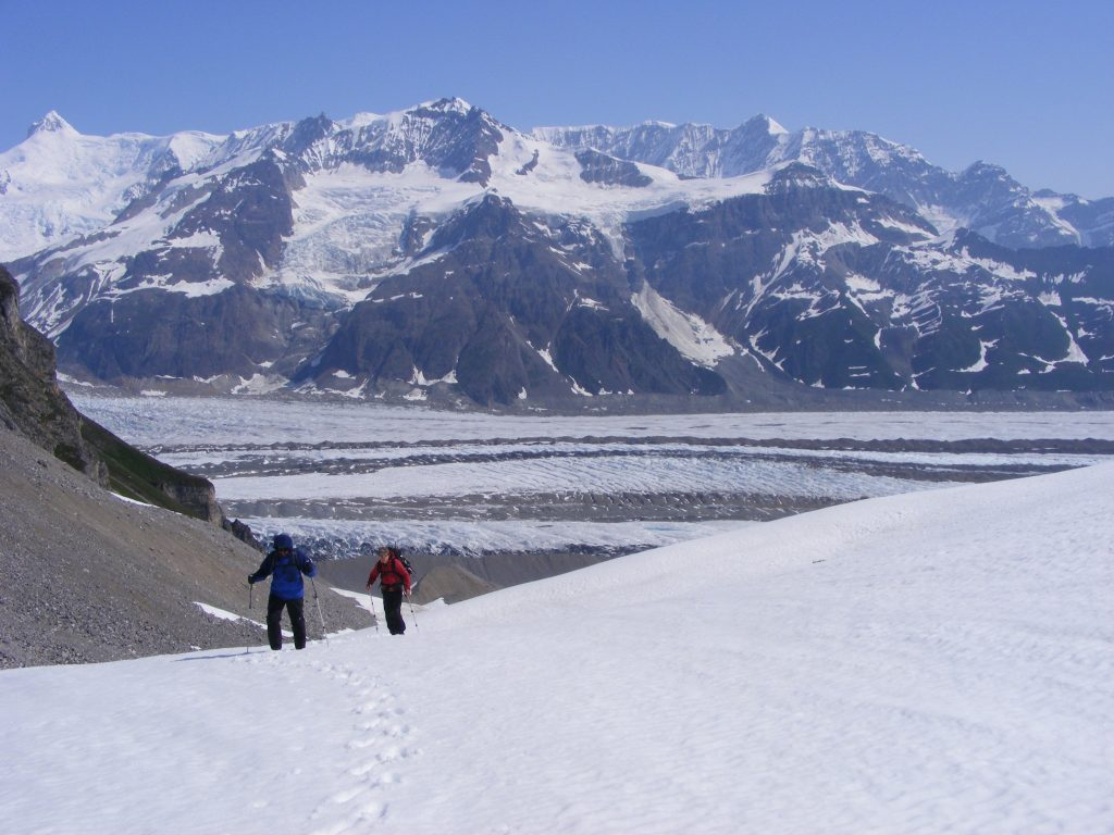 hiking above glacier