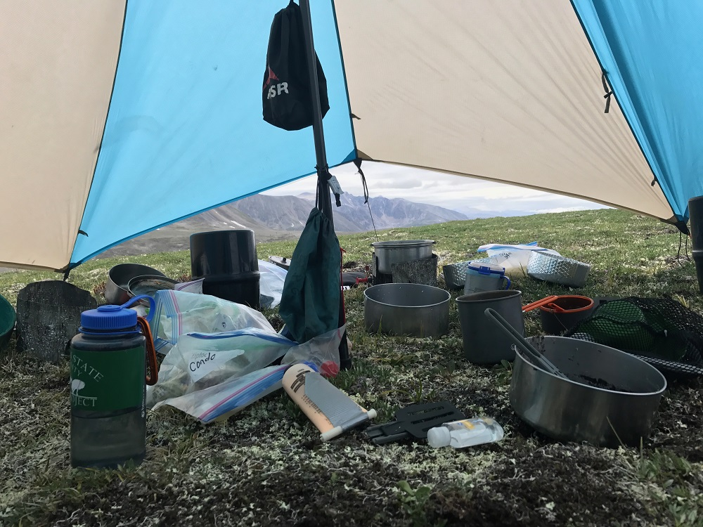 pots and backcountry stove